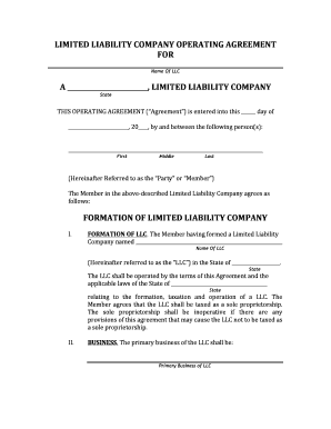 Free Llc Operating Agreement Forms Edit Print Fill Out