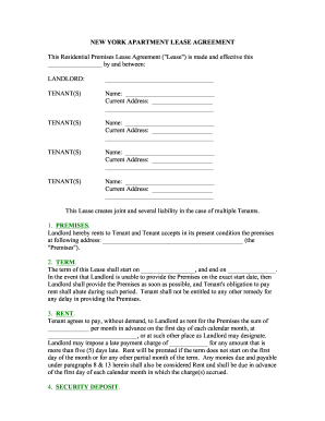 Printable Free New York Residential Lease Agreement Edit