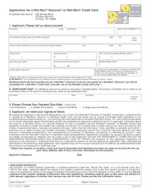 Fillable Online Application for a Wal-Mart Discover or Wal-Mart