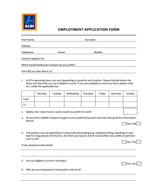 Fillable Online Download Aldi Job Application Forms Pdf Wikidownload