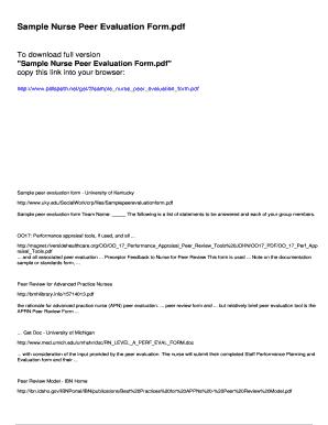 Fillable Online Sample Nurse Peer Evaluation Form