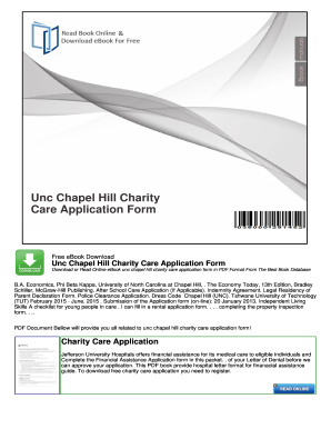 Fillable Online Unc Chapel Hill Charity Care Application Form ...