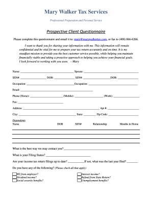 Tax Preparer Client Questionnaire
