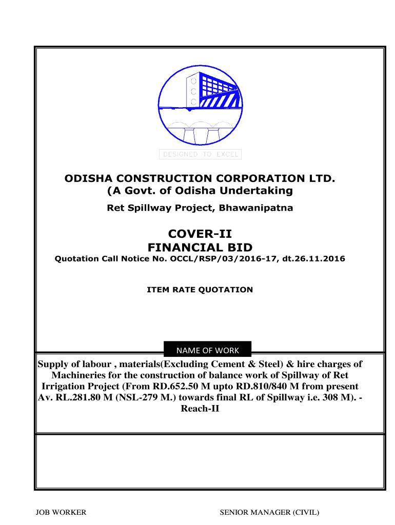 cover-ii financial bid - orissa construction corporation