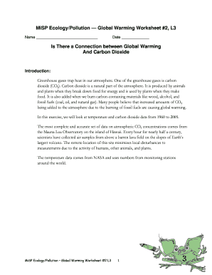 Fillable Online hofstra MiSP Ecology/Pollution Global Warming