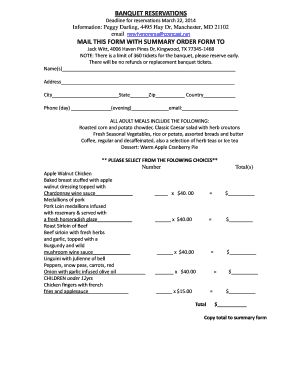 banquet reservations mail this form with summary order form to