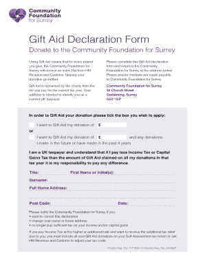Download a Gift Aid form here - Community Foundation for Surrey - cfsurrey org