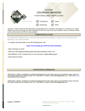 Fillable Online colorado medicaid - Availity Fax Email Print