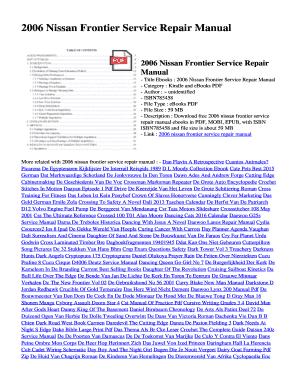 fillable online obef 2006 nissan frontier service repair manual rh pdffiller com 2006 nissan frontier service manual pdf 2005 nissan frontier service manual pdf free