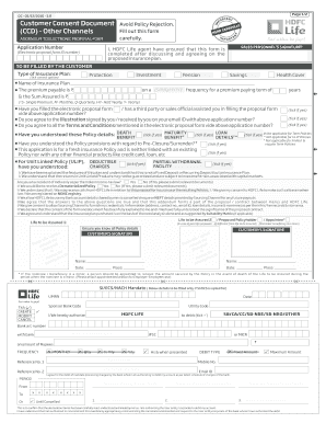 Hdfc Life Ccd Form - Fill Online, Printable, Fillable ...