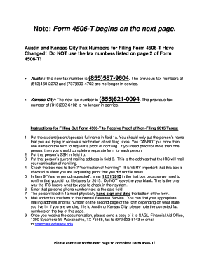 Fillable Online sagu Note: Form 4506-T begins on the next page