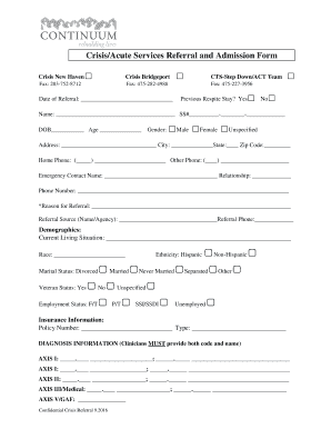 Crisis/Acute Services Referral and Admission Form