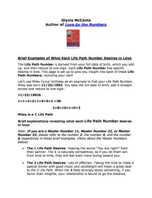 life path number - Fill Out, Print & Download Online Forms Templates