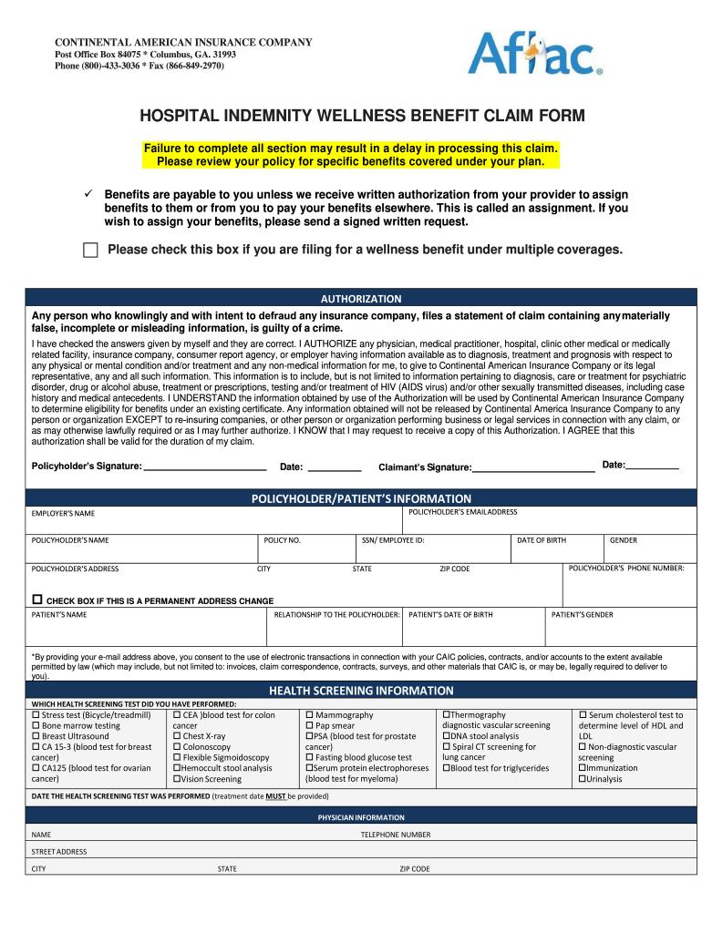 Fillable Online hospital indemnity wellness benefit claim ...