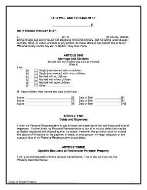 Indiana last will and testament fill online printable for Easy last will and testament free template