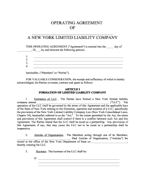 Limited Liability Company Operating Agreement Forms And Templates - New mexico llc operating agreement