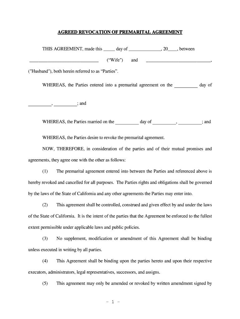 Revocation Of Prenuptial Agreement Form Fill Online Printable Fillable Blank Pdffiller