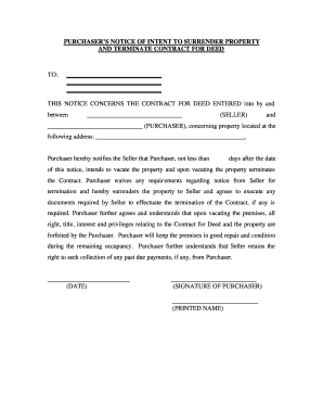 Indiana Buyer's Notice of Intent to Vacate and Surrender Property to Seller under Contract for Deed