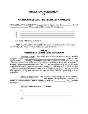 operating agreement llc arkansas  Fillable Online Arkansas Limited Liability Company LLC Operating ...