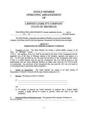 Forming A Llc In Michigan Fill Online Printable