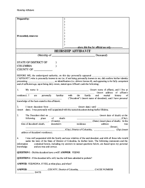 District of Columbia Heirship Affidavit - Descent