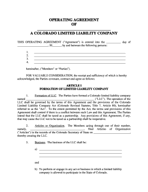 Llc Formation Form Free LLC Operating Agreement
