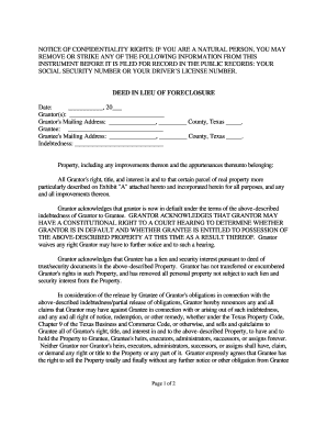 Fillable Online Texas Deed in Lieu of Foreclosure Fax Email Print ...
