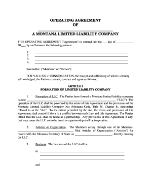 Montana Limited Liability Company LLC Operating Agreement