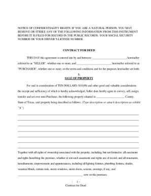 Contract For Deed Texas On Blank Contracts