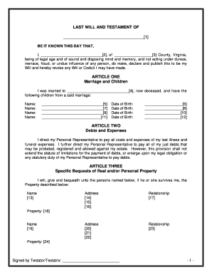 last will and testament free template maryland - bill of sale form virginia last will and testament form
