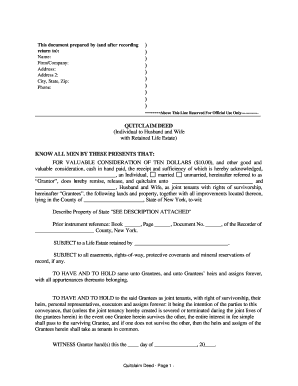 Nys Quit Claim Deed Form Example - Fill Online, Printable ...