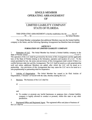 Fillable online florida single member limited liability for Florida llc operating agreement sample