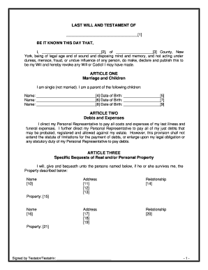 Bill of sale form louisiana last will and testament form for Will template new york