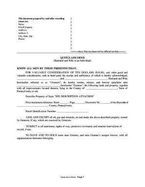 Bill Of Sale Form Pennsylvania Quitclaim Deed Form Templates ...