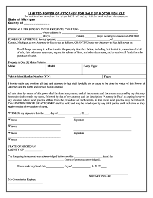 Michigan vehicle bill of sale form templates fillable for Bill of sale with lien template