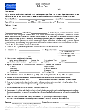 Fillable Online Patient Information Release Form - Henry