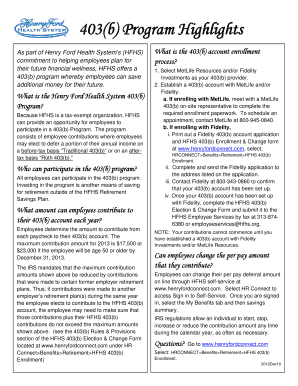 Fillable Online 403(b) Program Highlights - Henry Ford Health System