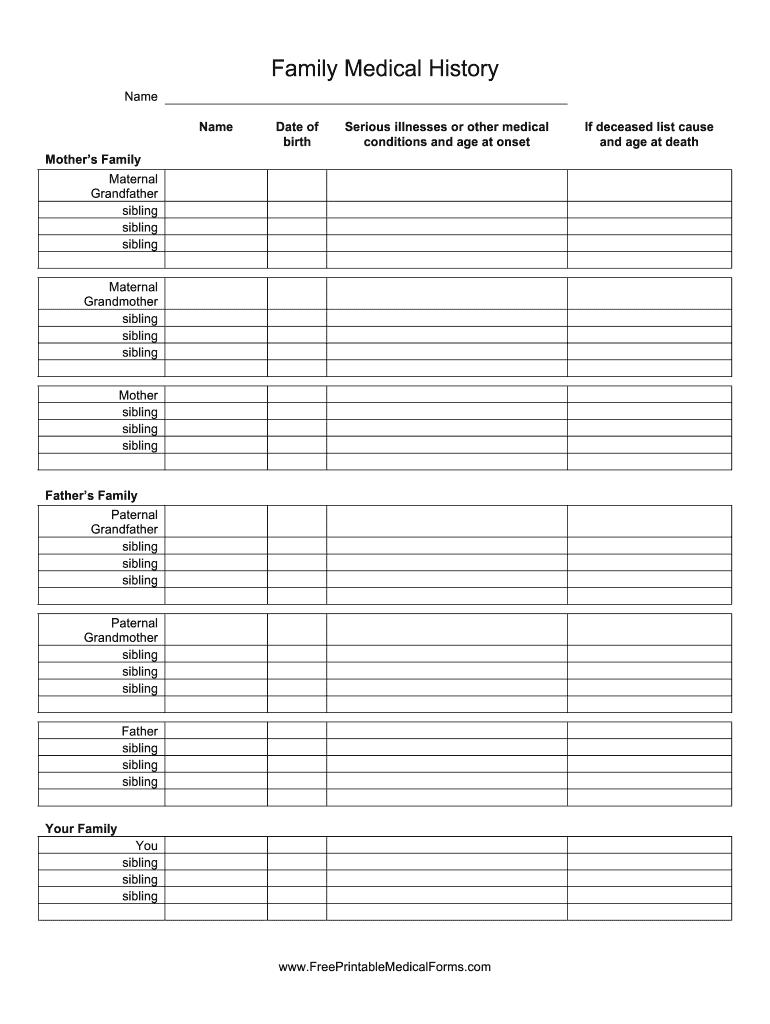 Family Medical History Form Fill Online Printable Fillable Blank Pdffiller