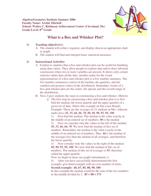 What is a Box and Whisker Plot - Delta State University