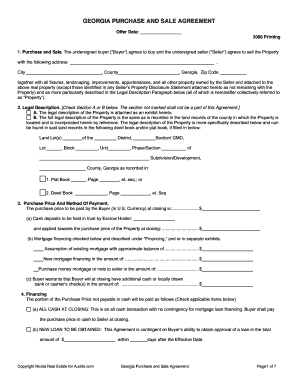 Fillable Online Georgia Purchase And Sale Agreement