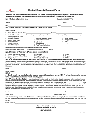 Medical Records Request Form - Texas Children's Hospital - texaschildrens