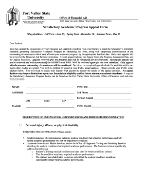 Fillable Online fvsu FA Form FVSU SAP APPEAL FORM Revised.doc ...