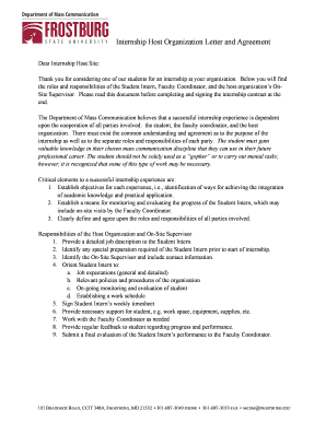 Internship Host Organization Letter And Agreement   Frostburg State ...    Frostburg