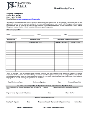 Fillable online jsums hand receipt form jackson state university rate this form maxwellsz