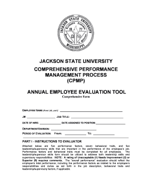 Annual Employee Evaluation Form - Jackson State University - jsums