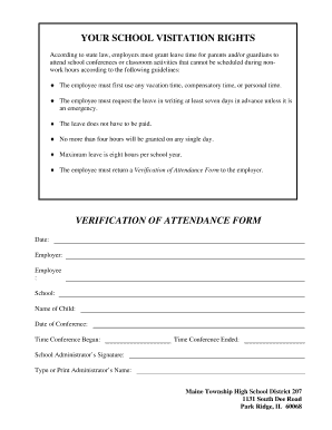 Fillable Online School Visitation Verification Form - Maine East ...