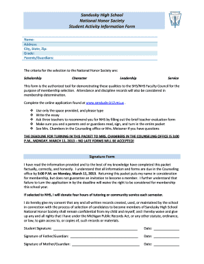 Fillable Online NHS Application Form - SharpSchool Fax Email Print ...