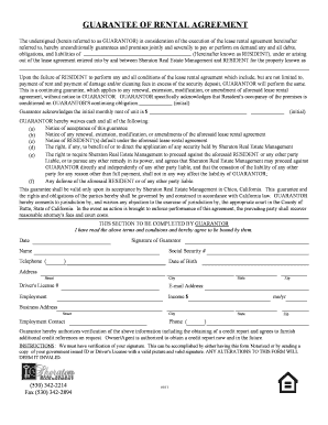 Personal Guarantee Form - Sheraton Real Estate Management