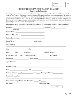Loan Guarantor Form - Fill Online, Printable, Fillable, Blank