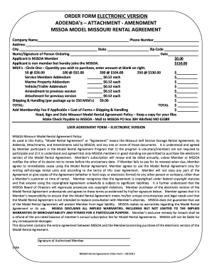 mini storage rental agreement form